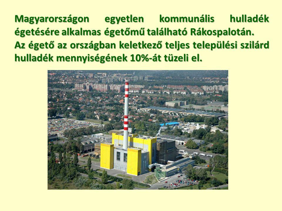 Magyarországon egyetlen kommunális hulladék égetésére alkalmas égetőmű található Rákospalotán.