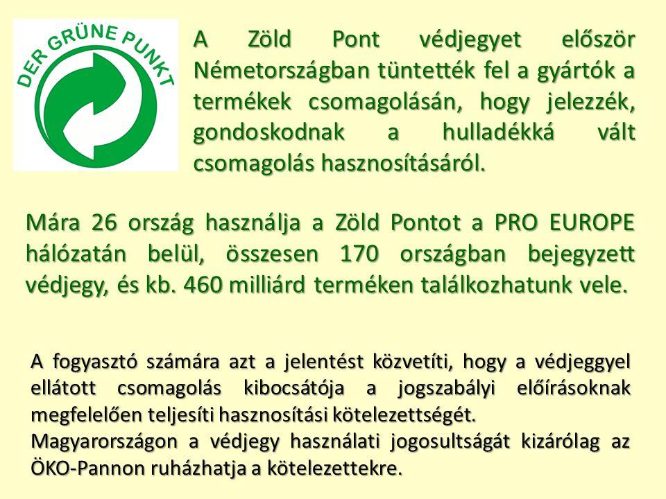 A Zöld Pont védjegyet először Németországban tüntették fel a gyártók a termékek csomagolásán, hogy jelezzék, gondoskodnak a hulladékká vált csomagolás hasznosításáról.
