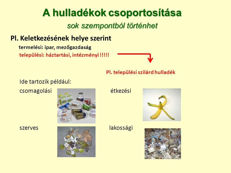 A hulladékok csoportosítása