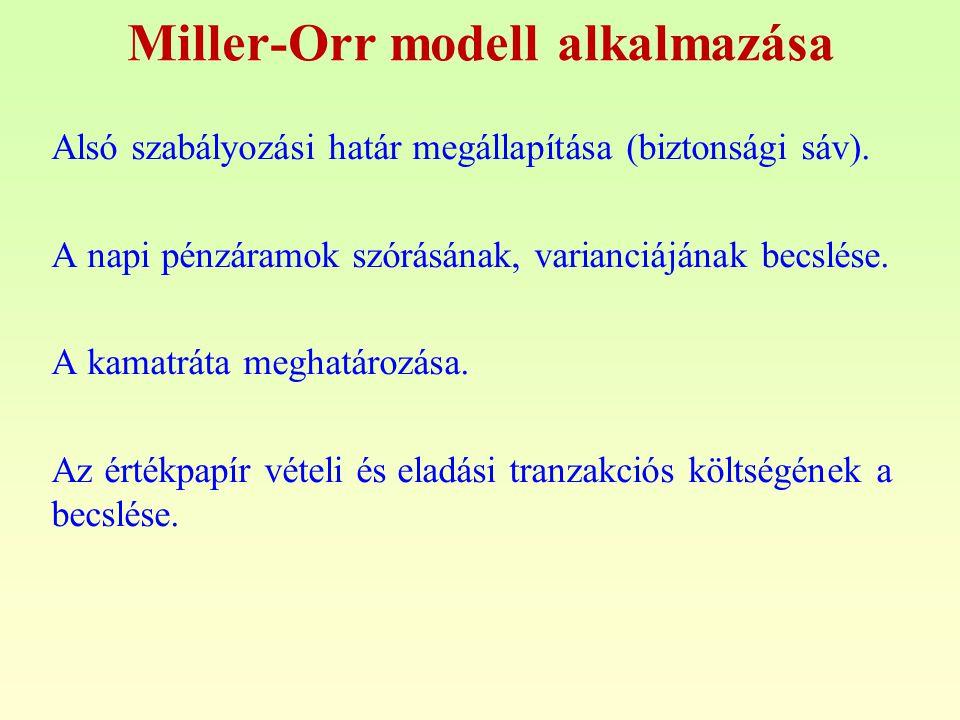 Miller-Orr modell alkalmazása