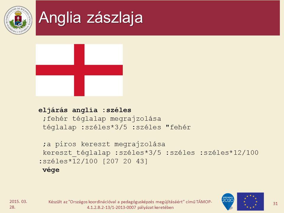 Anglia zászlaja eljárás anglia :széles ;fehér téglalap megrajzolása