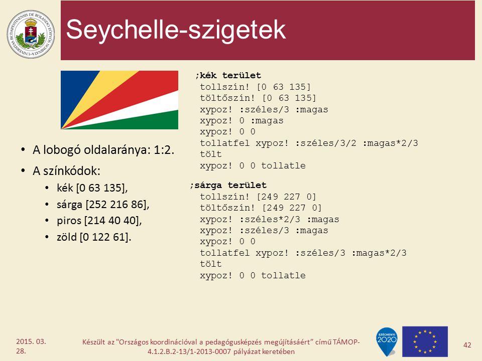 Seychelle-szigetek A lobogó oldalaránya: 1:2. A színkódok: