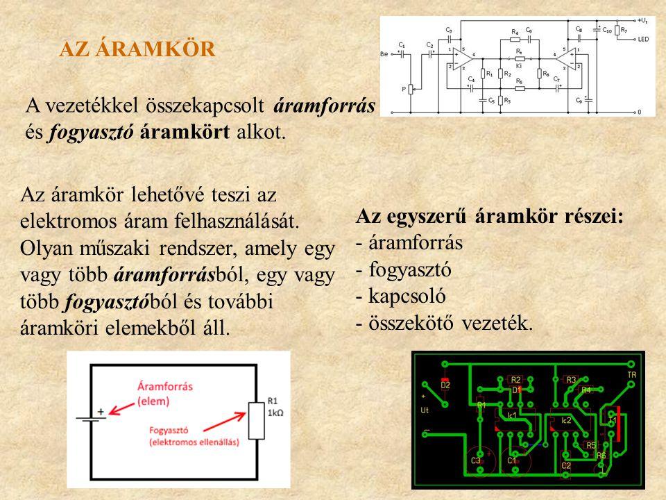 Az áramkör A vezetékkel összekapcsolt áramforrás és fogyasztó áramkört alkot. Az áramkör lehetővé teszi az elektromos áram felhasználását.