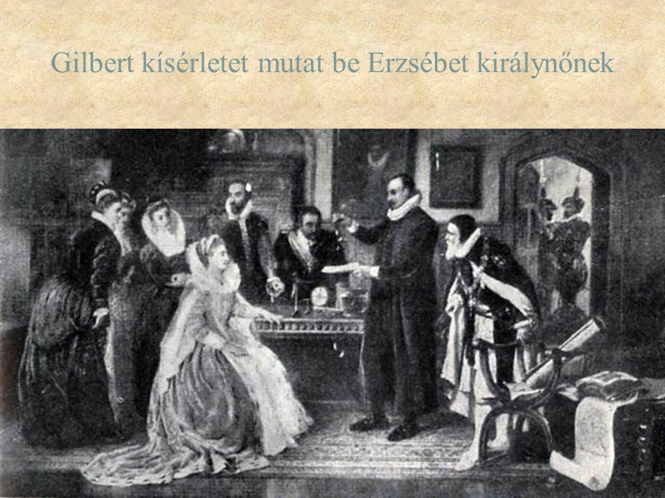Gilbert kísérletet mutat be Erzsébet királynőnek