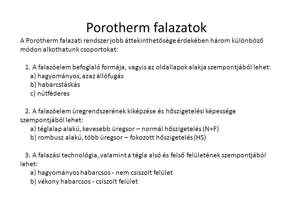 Porotherm falazatok A Porotherm falazati rendszer jobb áttekinthetősége érdekében három különböző módon alkothatunk csoportokat: