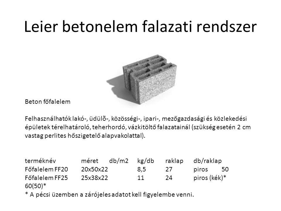 Leier betonelem falazati rendszer