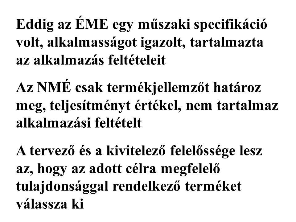Eddig az ÉME egy műszaki specifikáció volt, alkalmasságot igazolt, tartalmazta az alkalmazás feltételeit