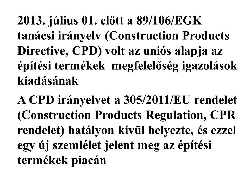 2013. július 01. előtt a 89/106/EGK tanácsi irányelv (Construction Products Directive, CPD) volt az uniós alapja az építési termékek megfelelőség igazolások kiadásának