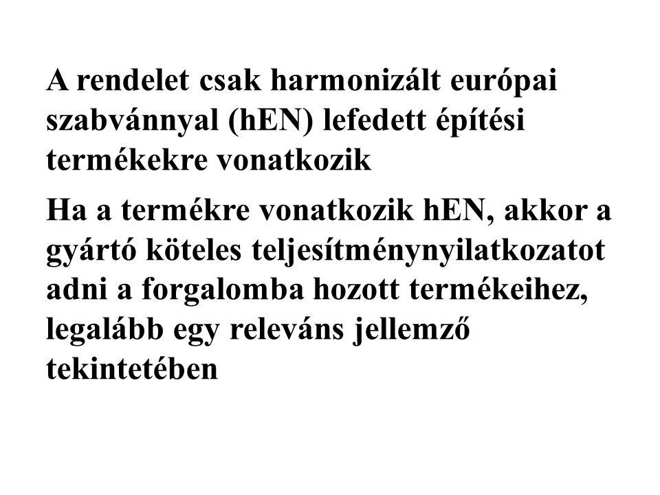A rendelet csak harmonizált európai szabvánnyal (hEN) lefedett építési termékekre vonatkozik