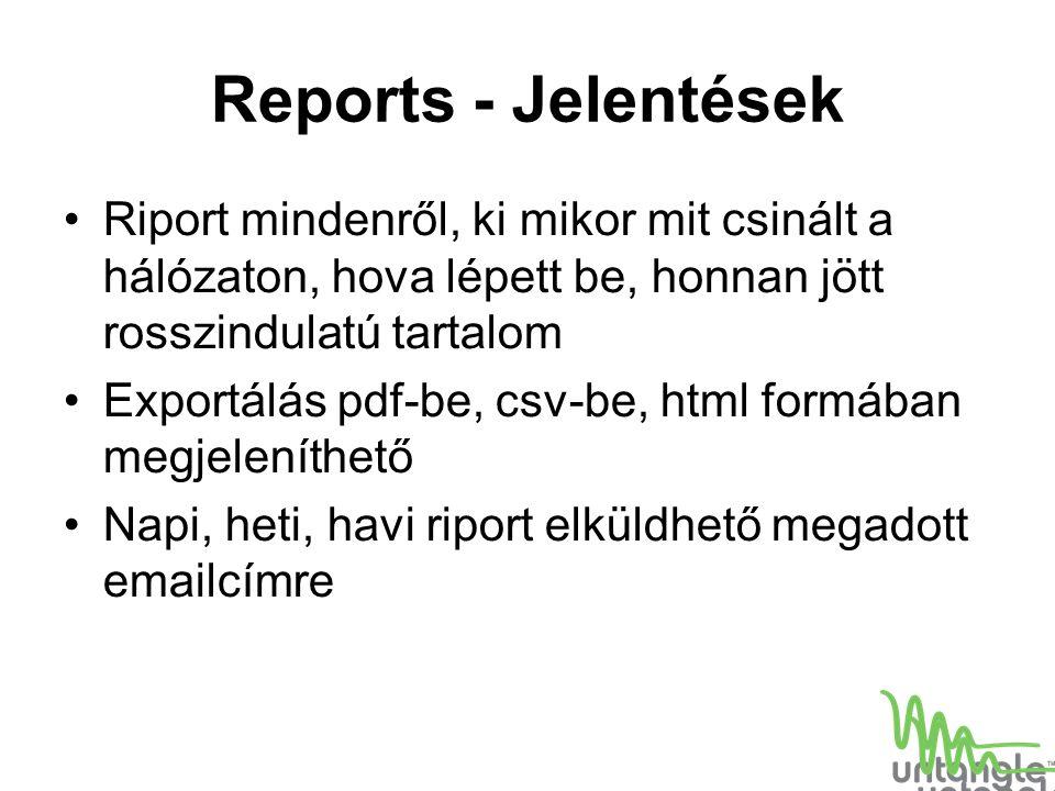 Reports - Jelentések Riport mindenről, ki mikor mit csinált a hálózaton, hova lépett be, honnan jött rosszindulatú tartalom.