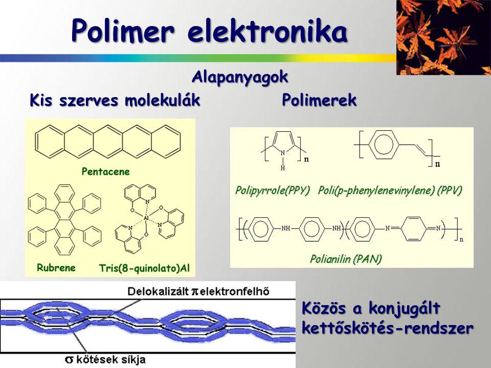 Polimer elektronika Alapanyagok Kis szerves molekulák Polimerek