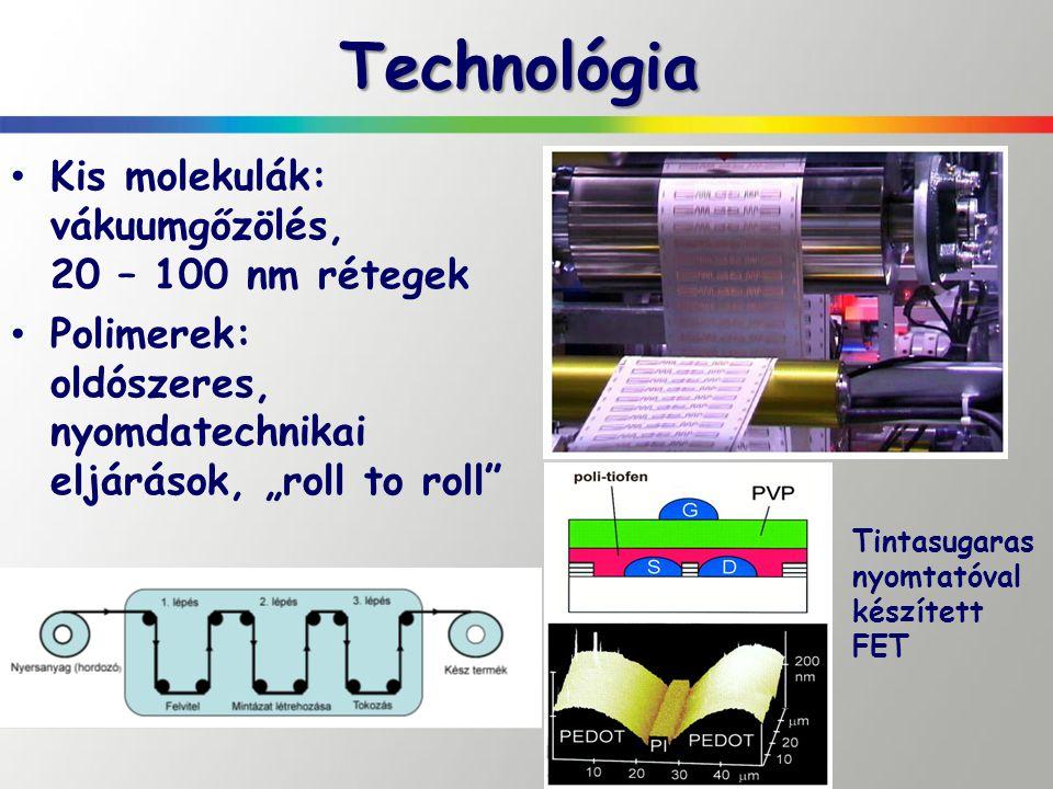 Technológia Kis molekulák: vákuumgőzölés, 20 – 100 nm rétegek