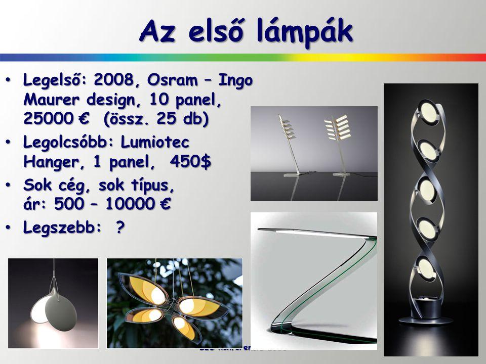 Az első lámpák Legelső: 2008, Osram – Ingo Maurer design, 10 panel, 25000 € (össz. 25 db) Legolcsóbb: Lumiotec Hanger, 1 panel, 450$