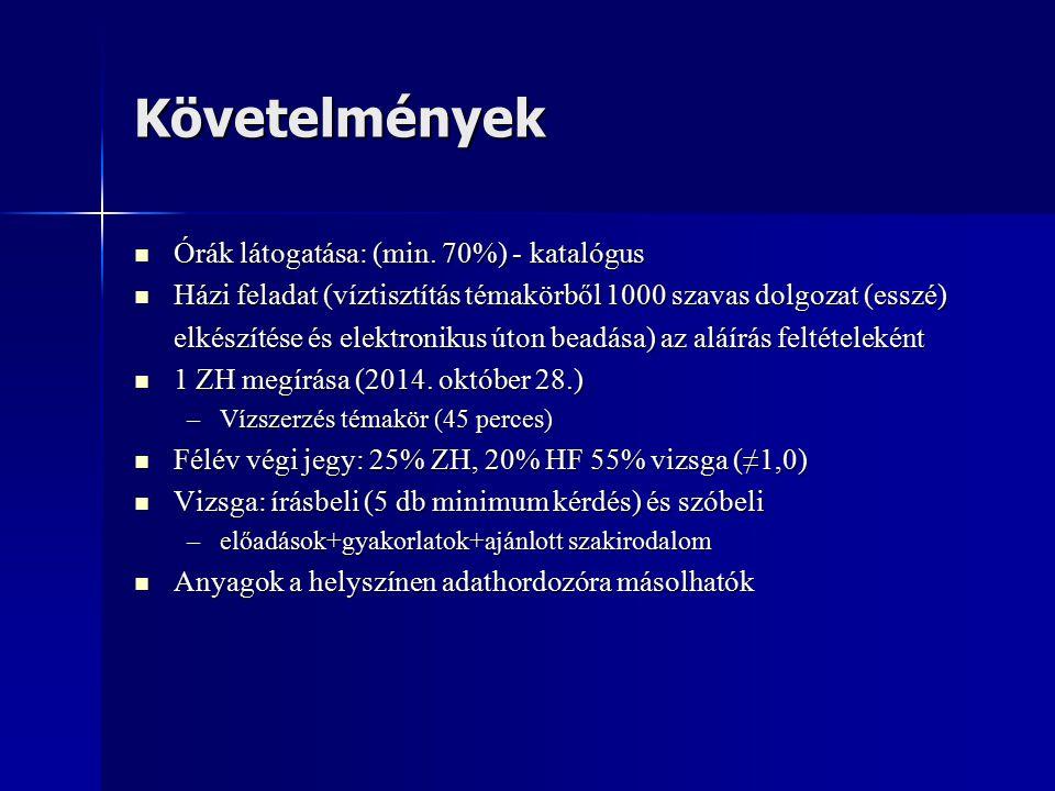 Követelmények Órák látogatása: (min. 70%) - katalógus