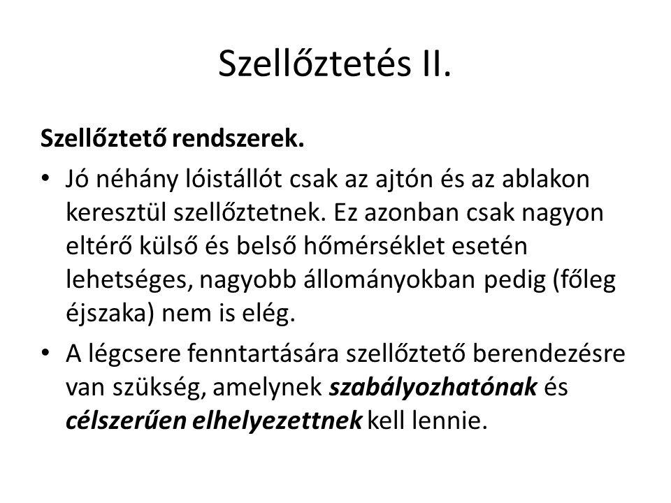 Szellőztetés II. Szellőztető rendszerek.