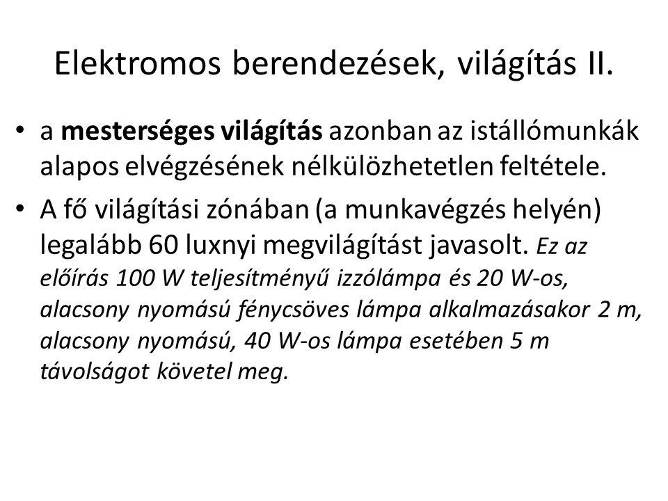 Elektromos berendezések, világítás II.