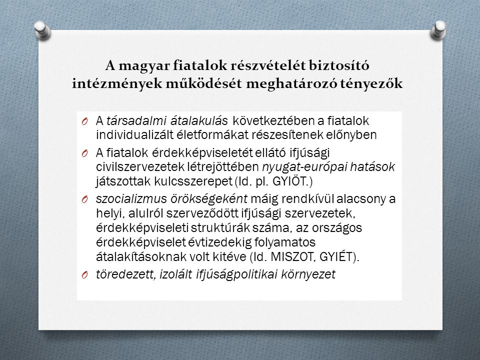 A magyar fiatalok részvételét biztosító intézmények működését meghatározó tényezők