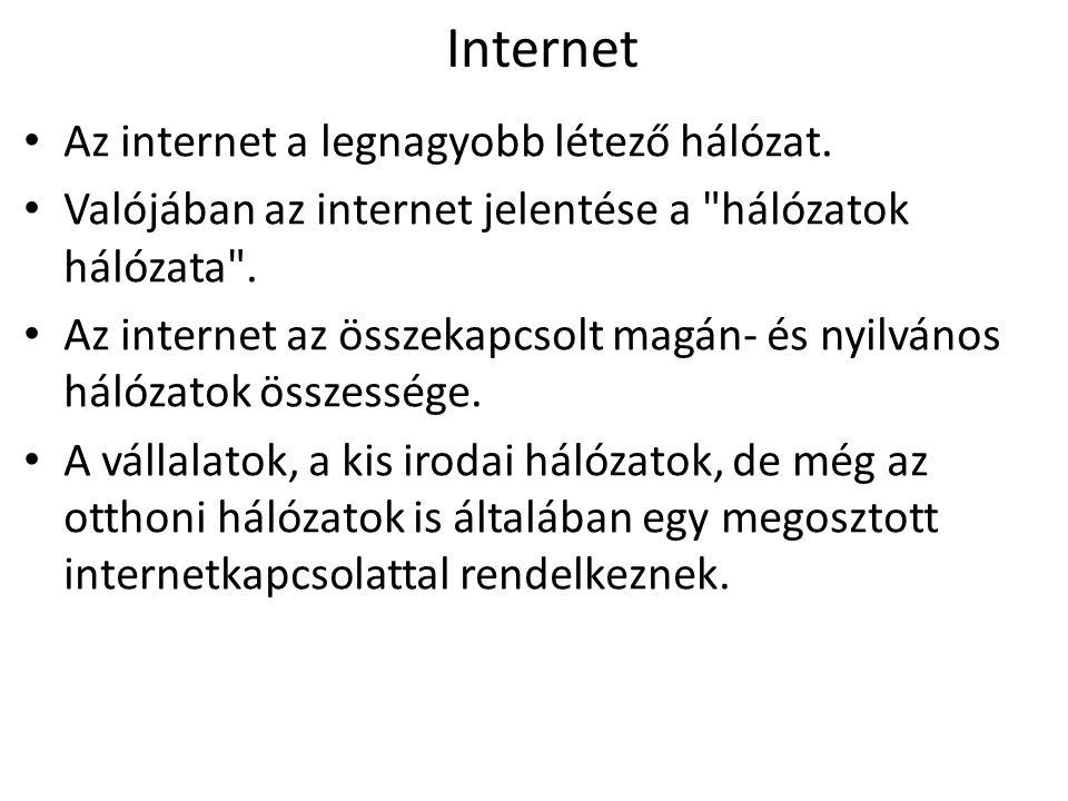 Internet Az internet a legnagyobb létező hálózat.