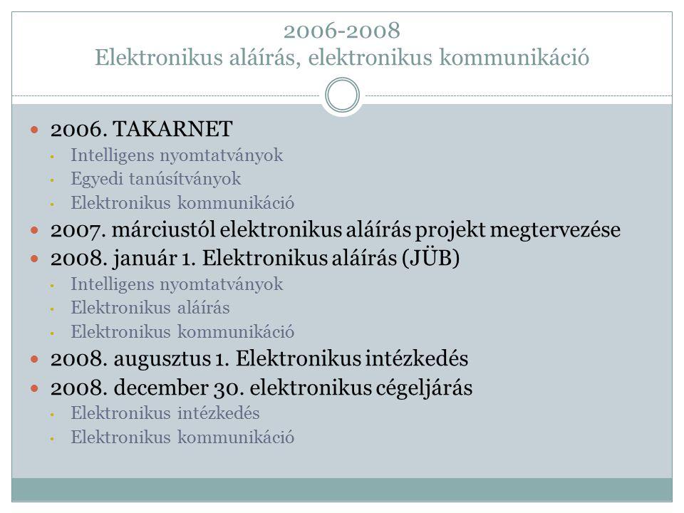 2006-2008 Elektronikus aláírás, elektronikus kommunikáció