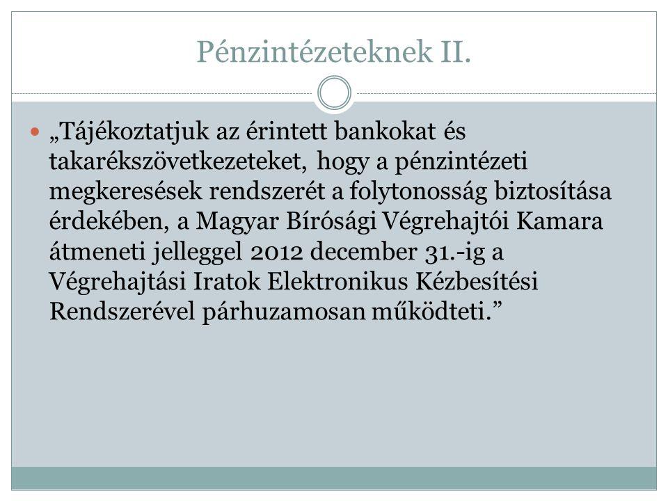 Pénzintézeteknek II.