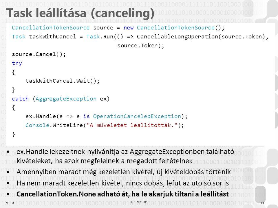 Task leállítása (canceling)