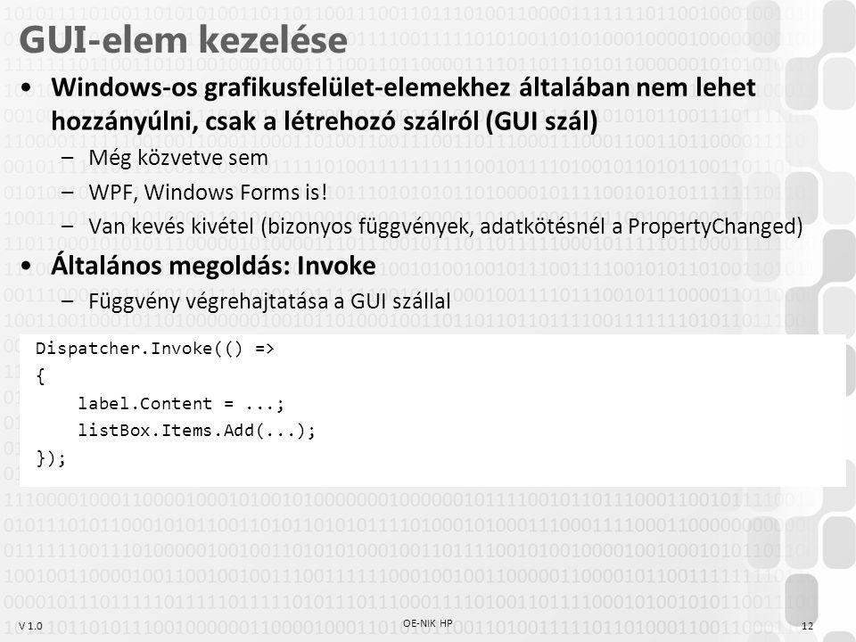 GUI-elem kezelése Windows-os grafikusfelület-elemekhez általában nem lehet hozzányúlni, csak a létrehozó szálról (GUI szál)