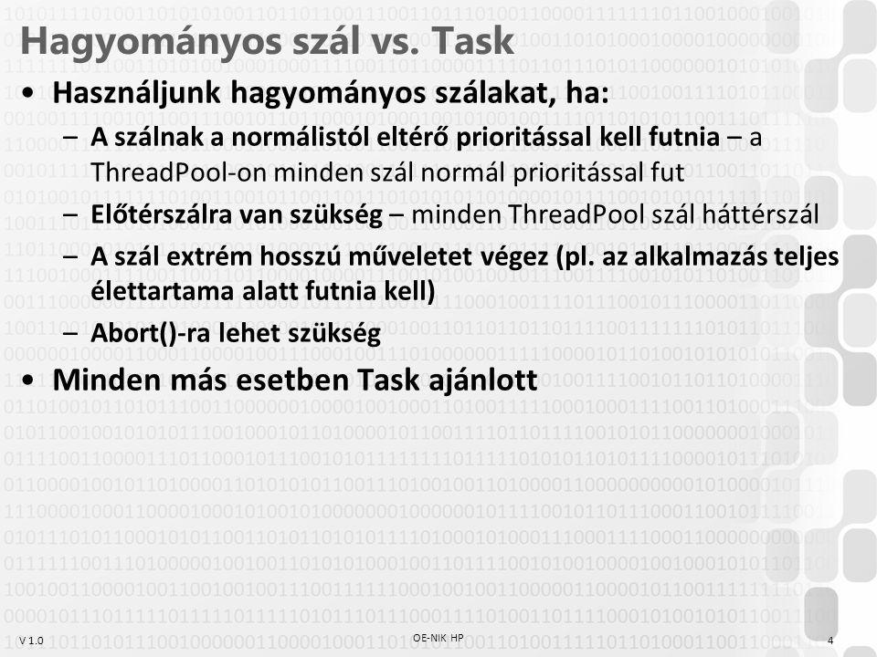 Hagyományos szál vs. Task