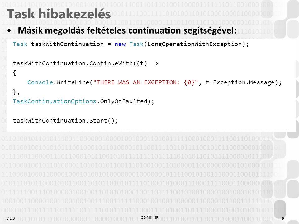 Task hibakezelés Másik megoldás feltételes continuation segítségével: