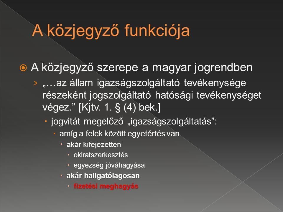A közjegyző funkciója A közjegyző szerepe a magyar jogrendben