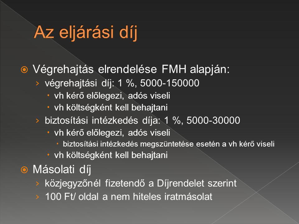 Az eljárási díj Végrehajtás elrendelése FMH alapján: Másolati díj