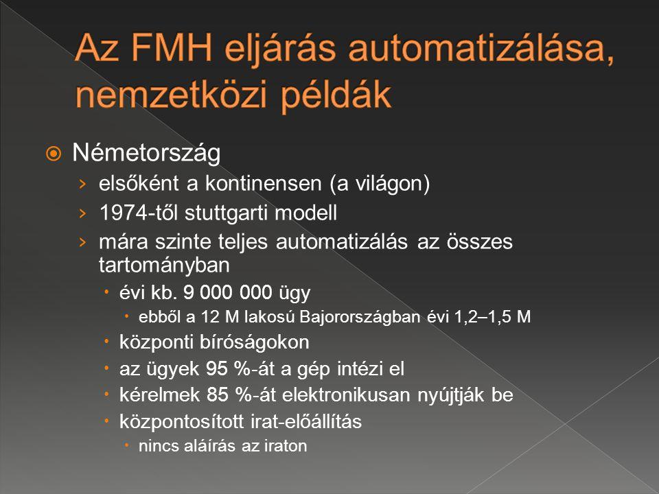 Az FMH eljárás automatizálása, nemzetközi példák
