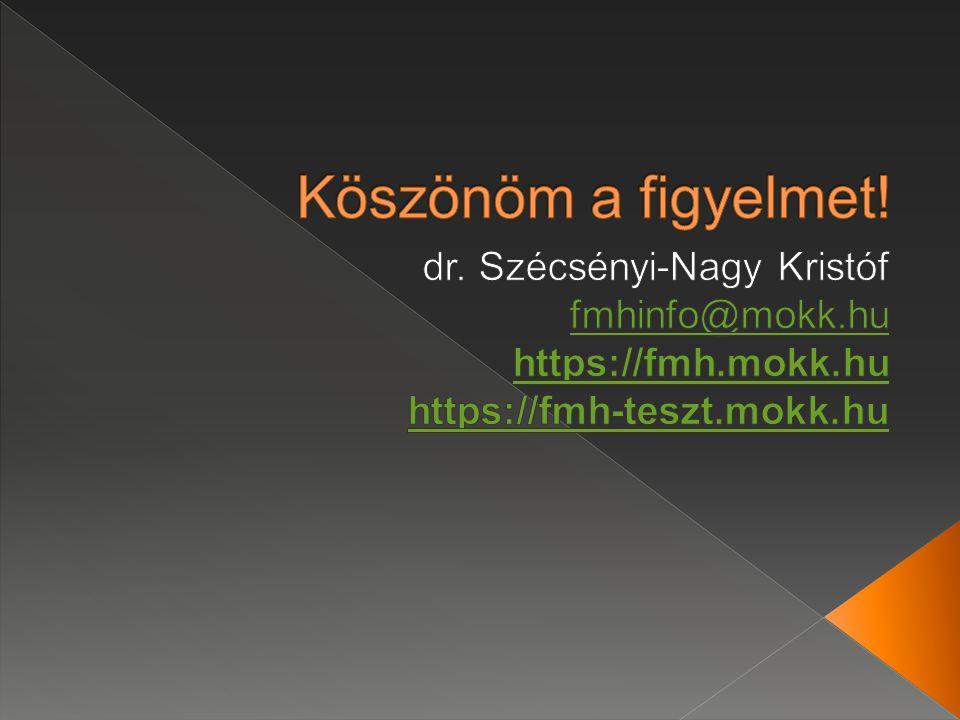 Köszönöm a figyelmet! dr. Szécsényi-Nagy Kristóf fmhinfo@mokk.hu