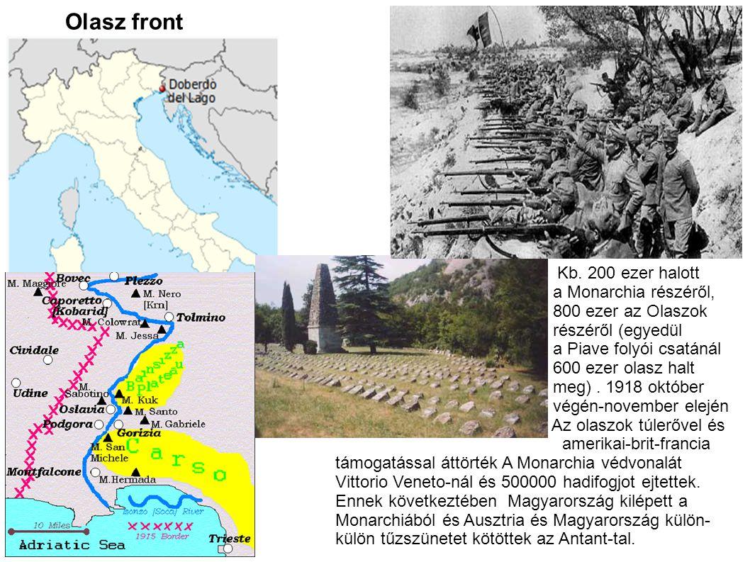 Olasz front Kb. 200 ezer halott a Monarchia részéről,