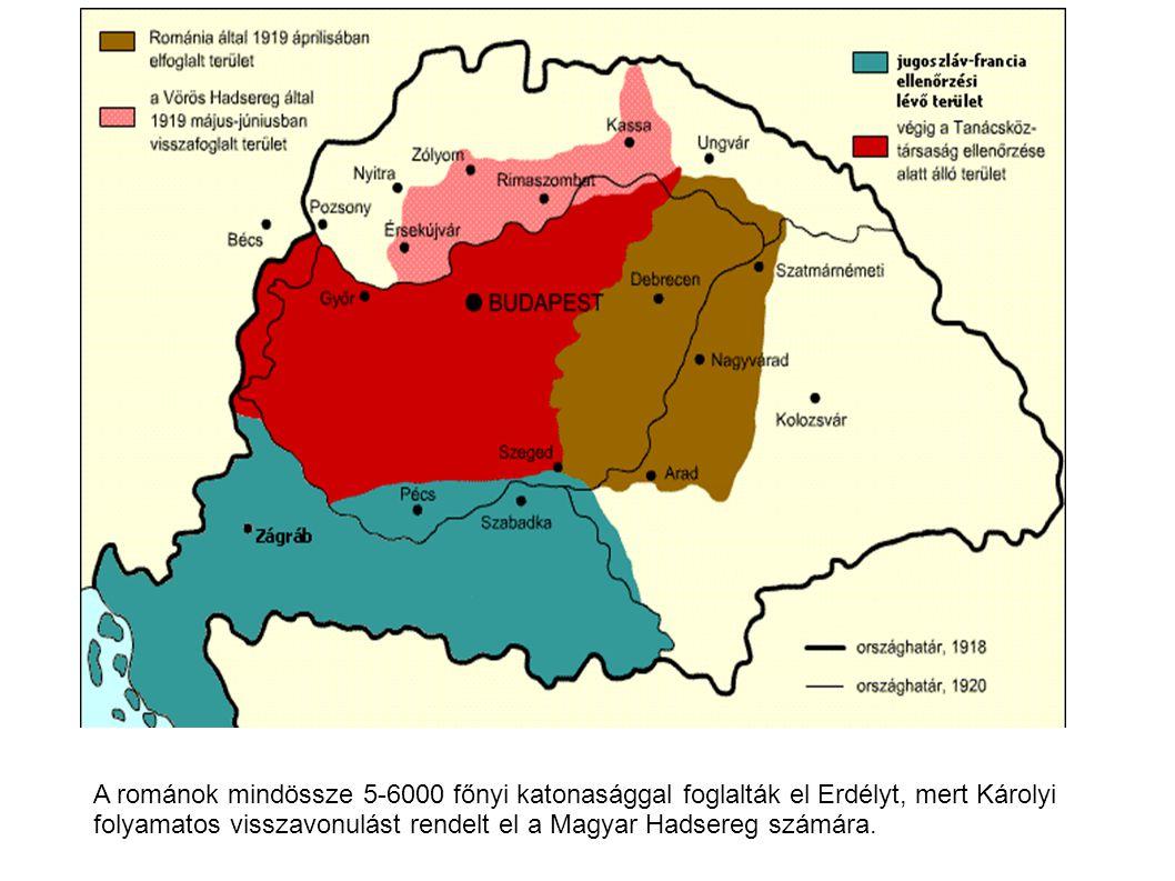 A románok mindössze 5-6000 főnyi katonasággal foglalták el Erdélyt, mert Károlyi