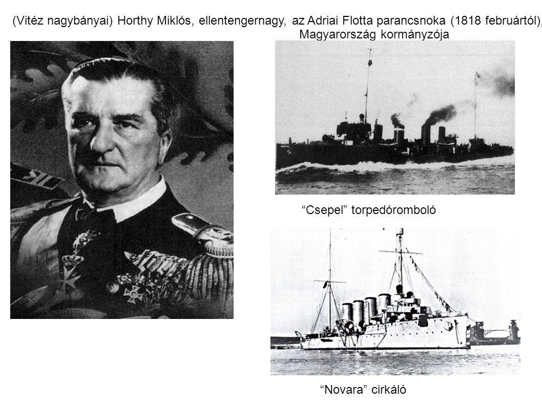 (Vitéz nagybányai) Horthy Miklós, ellentengernagy, az Adriai Flotta parancsnoka (1818 februártól),