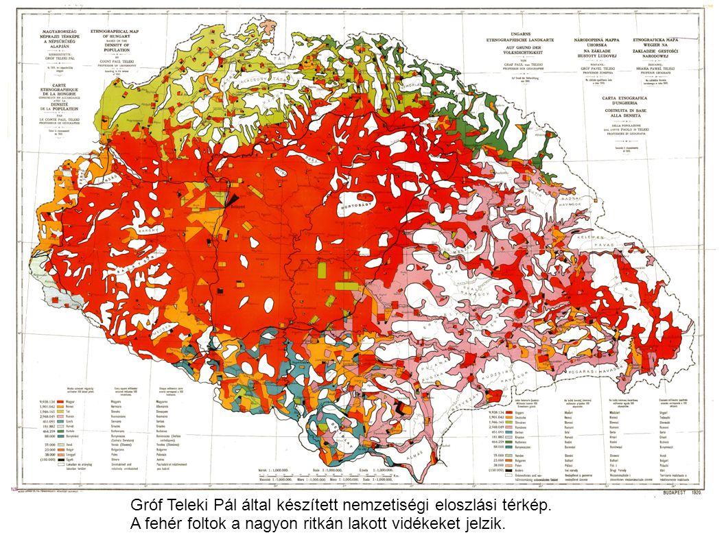 Gróf Teleki Pál által készített nemzetiségi eloszlási térkép.