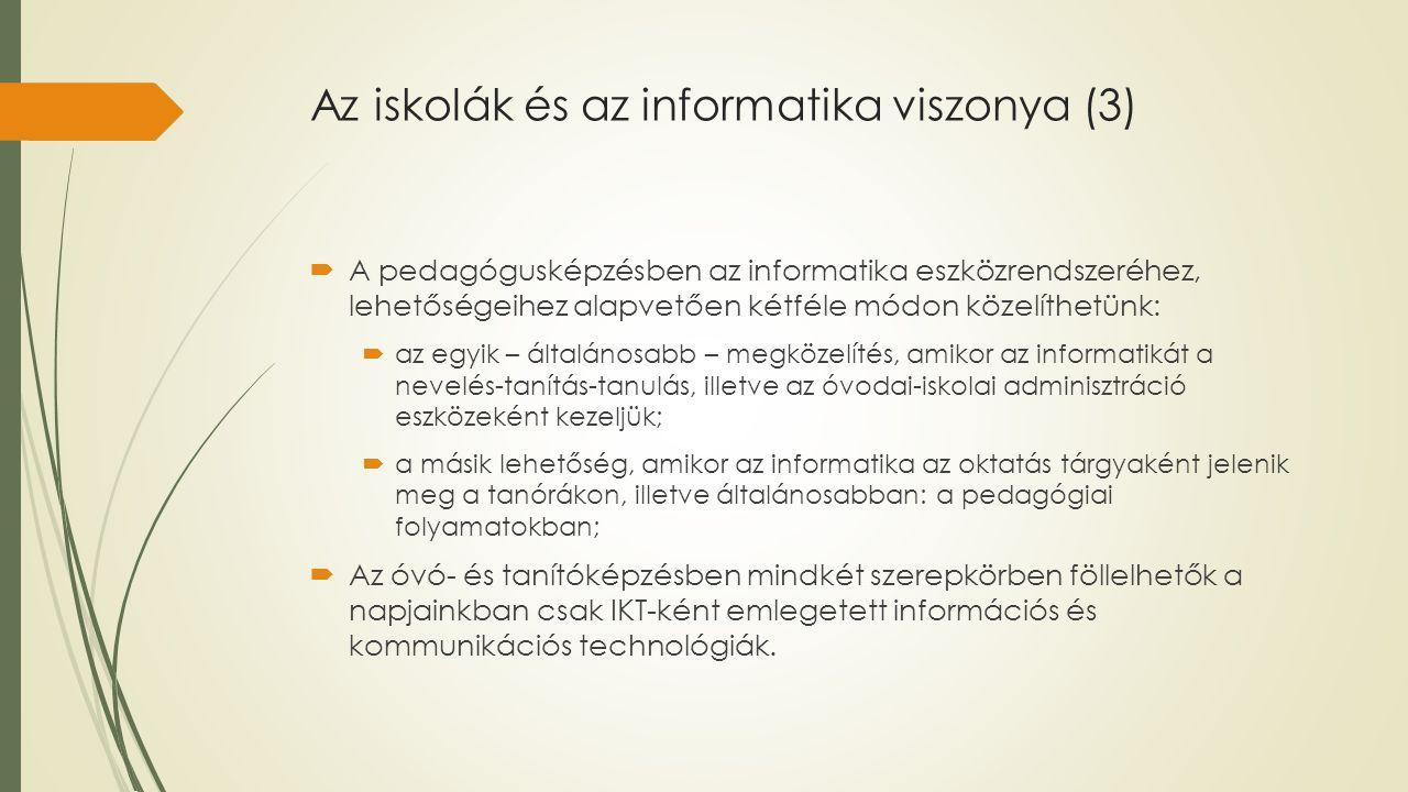 Az iskolák és az informatika viszonya (3)