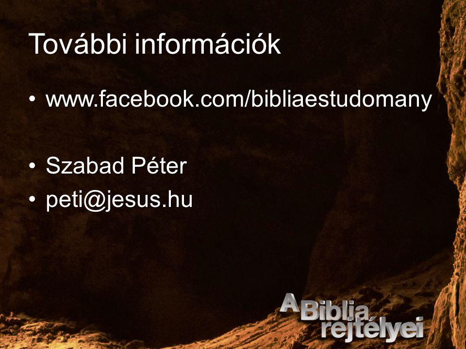 További információk www.facebook.com/bibliaestudomany Szabad Péter