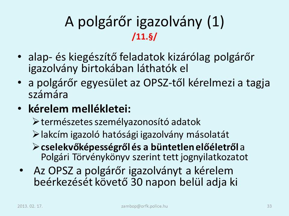 A polgárőr igazolvány (1) /11.§/