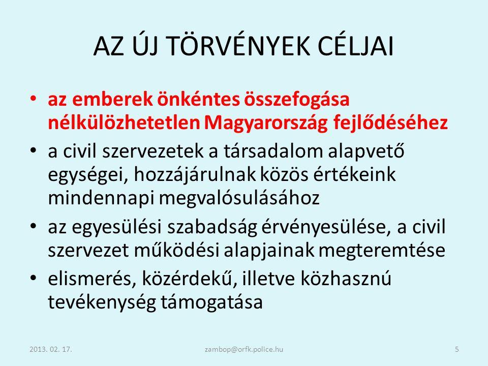 AZ ÚJ TÖRVÉNYEK CÉLJAI az emberek önkéntes összefogása nélkülözhetetlen Magyarország fejlődéséhez.