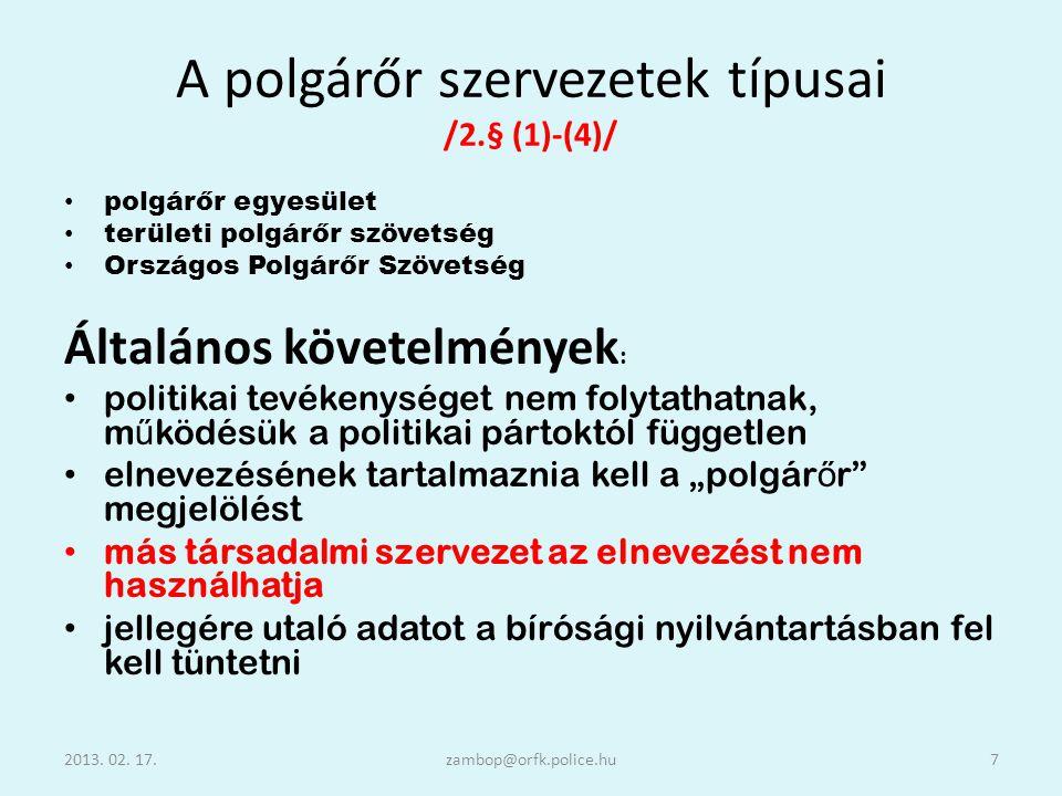 A polgárőr szervezetek típusai /2.§ (1)-(4)/