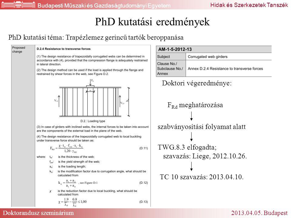 PhD kutatási eredmények