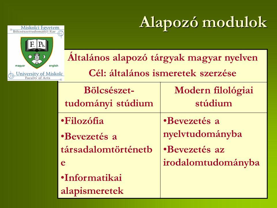 Alapozó modulok Általános alapozó tárgyak magyar nyelven