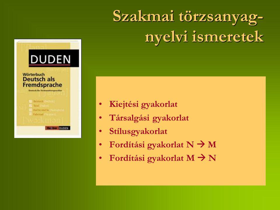 Szakmai törzsanyag- nyelvi ismeretek