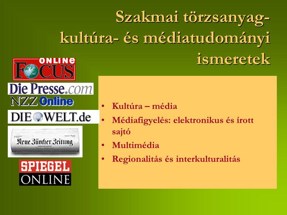 Szakmai törzsanyag- kultúra- és médiatudományi ismeretek