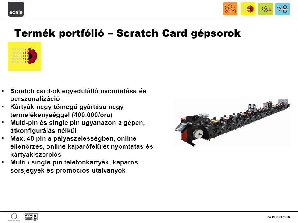 Termék portfólió – Scratch Card gépsorok
