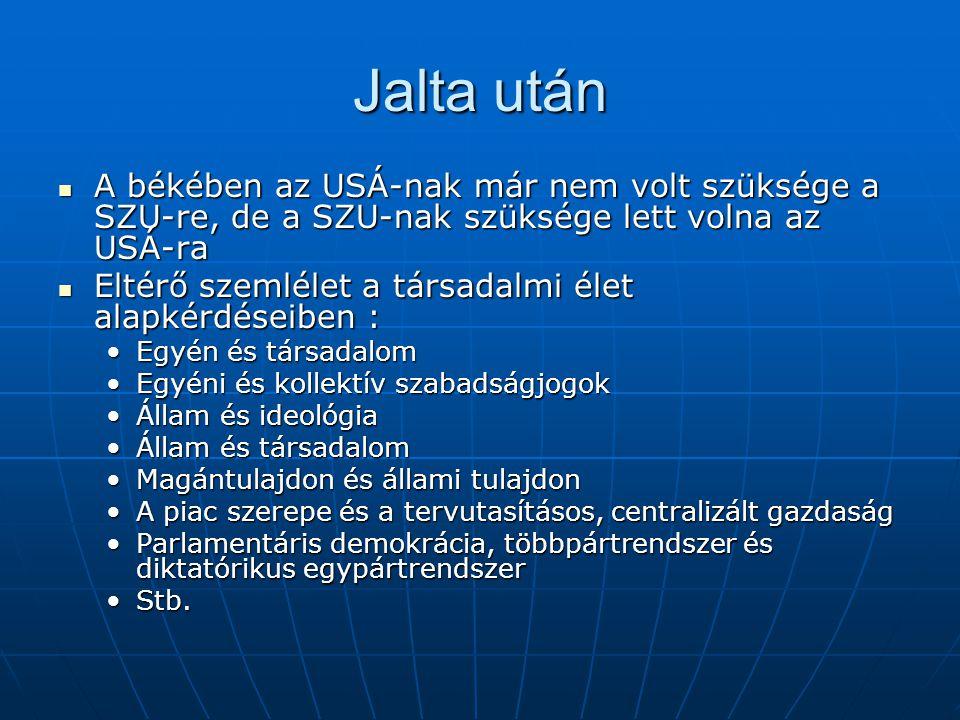 Jalta után A békében az USÁ-nak már nem volt szüksége a SZU-re, de a SZU-nak szüksége lett volna az USÁ-ra.