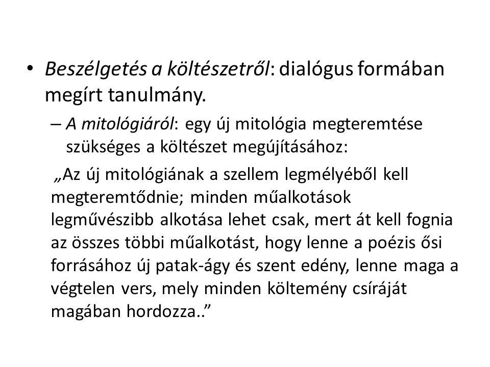 Beszélgetés a költészetről: dialógus formában megírt tanulmány.