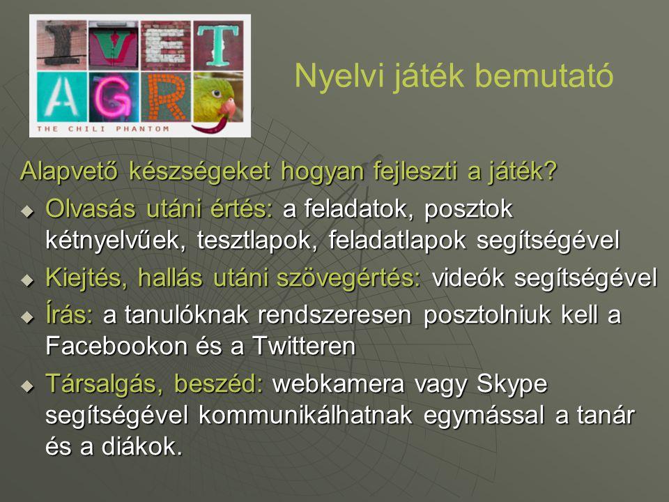 Nyelvi játék bemutató Alapvető készségeket hogyan fejleszti a játék