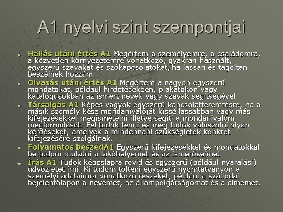 A1 nyelvi szint szempontjai
